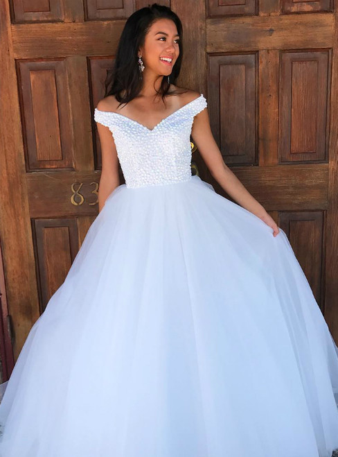Gorgeous Off the Shoulder White Tulle Beaded Long Prom Dress