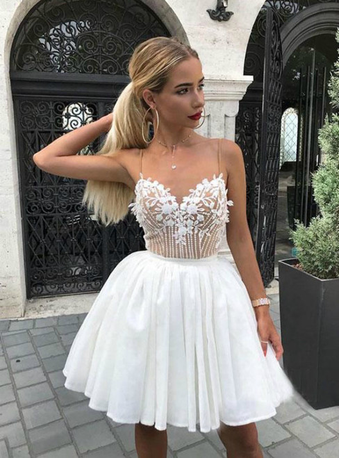 White Spaghetti Straps Lace Appliques Homecoming Dress