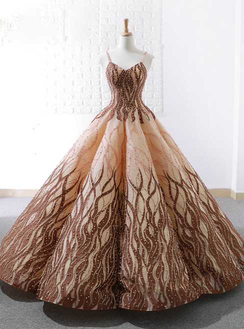 Brown Vintage Ball Gown Spaghetti Straps Wedding Dress With Pearls