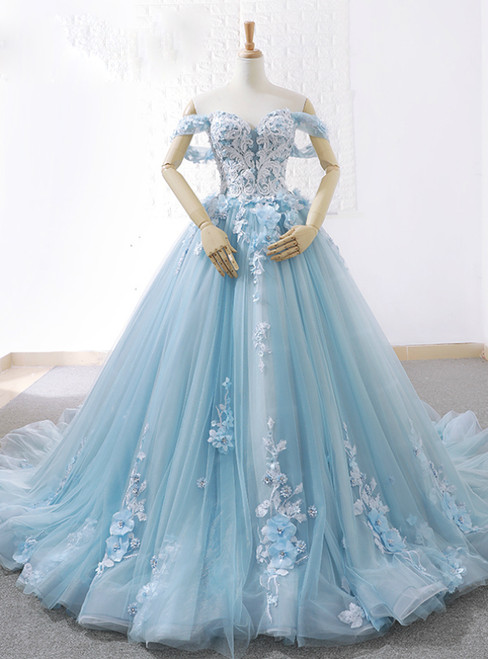 Blue Ball Gown Tulle Off The Shoulder Appliques Wedding Dress