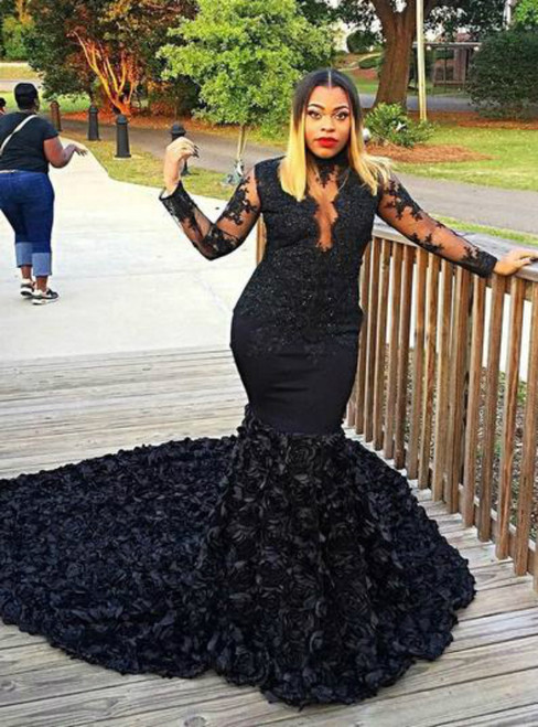 Black Mermaid High Neck Long Sleeve Lace Hand Flower Prom Dress