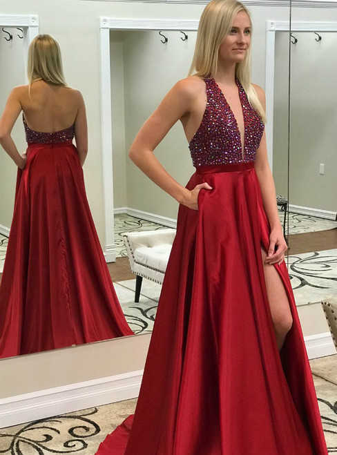 Red Satin Halter Backless Beaded Prom Dress With Side Split