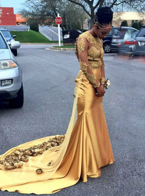 Gold Mermaid Satin Appliques Long Sleeve Backless Prom Dress