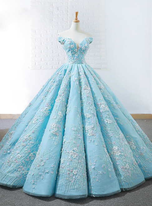 Blue Ball Gown Off The Shoulder Appliques Haute Couture Wedding Dress