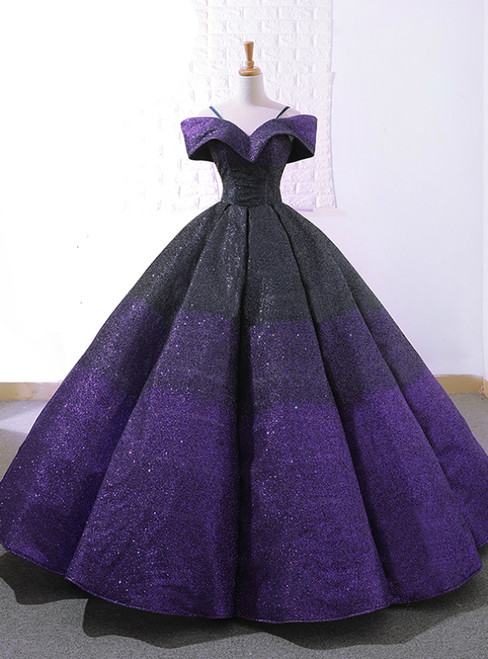 Purple And Black Sequins Off The Shuolder Wedding Dress