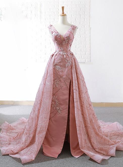 A-Line Pink Sequins V-neck Backless Appliques Wedding Dress