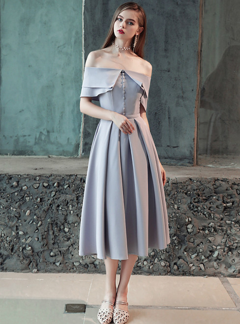 In Stock:Ship in 48 Hours Silver Gray Off The Shoulder Prom Dress