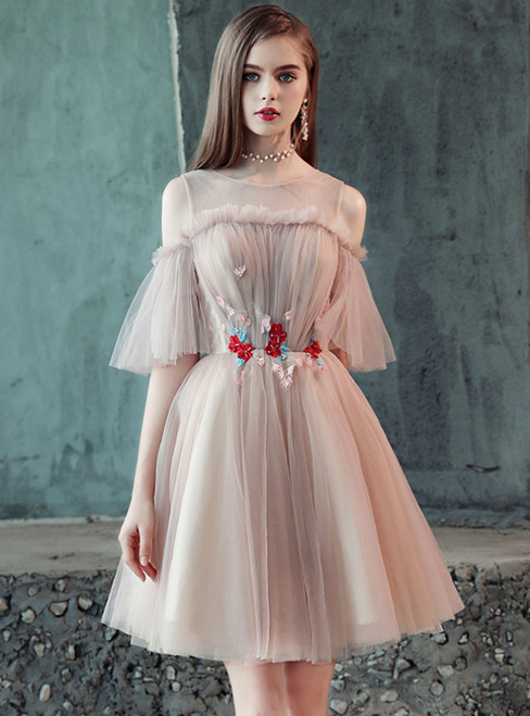 In Stock:Ship in 48 Hours Pink Tulle Appliques Short Homecoming Dress