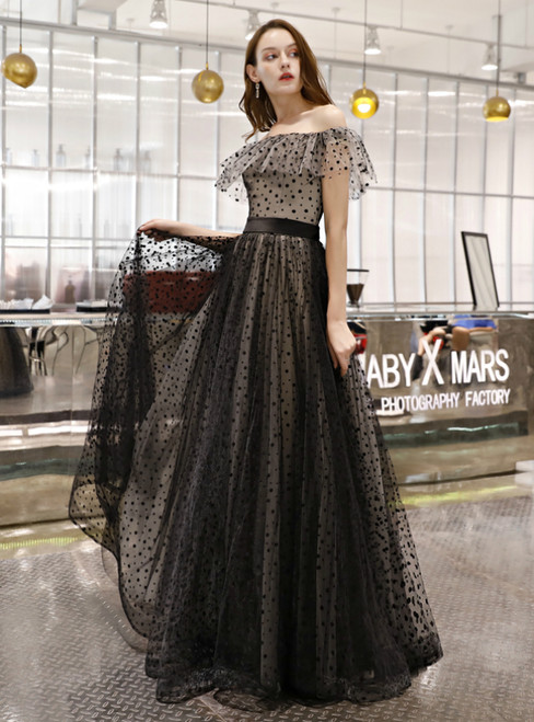 In Stock:Ship in 48 Hours Black Wave Point Off The Shoulder Prom Dress