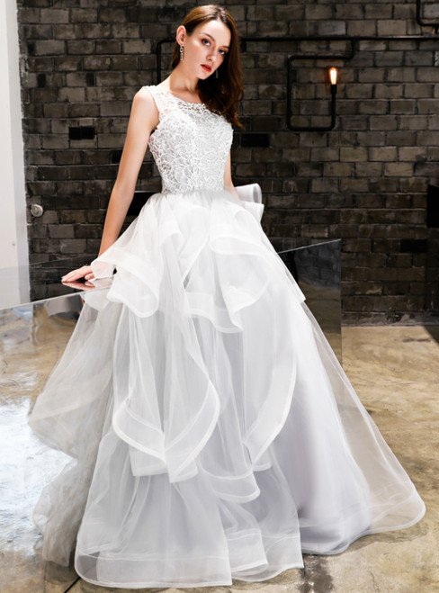 In Stock:Ship in 48 Hours Silver Gray Tulle Lace Backless Prom Dress
