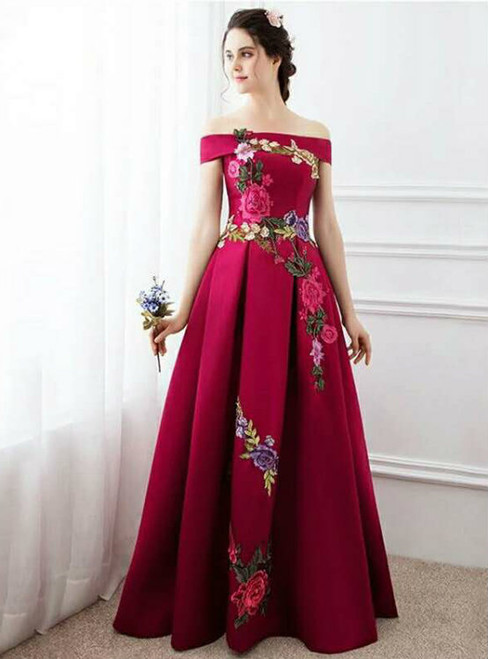 New fashion sleeveless red satin off shoulder long prom dress 2017