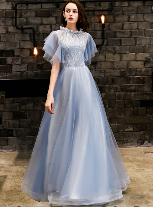 In Stock:Ship in 48 Hours Blue Tulle Lace High Neck Prom Dress