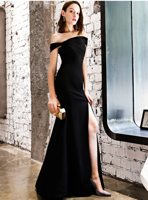 In Stock:Ship in 48 Hours Black Mermaid Satin Off The Shoulder Prom Dress