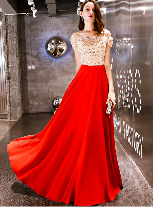 In Stock:Ship in 48 Hours Red Off The Shoulder Sequins Prom Dress