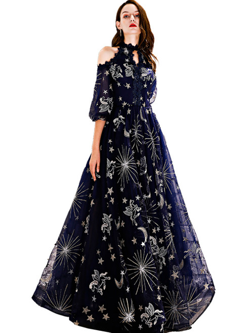 In Stock:Ship in 48 Hours Navy Blue Embroidery Half Sleeve Prom Dress