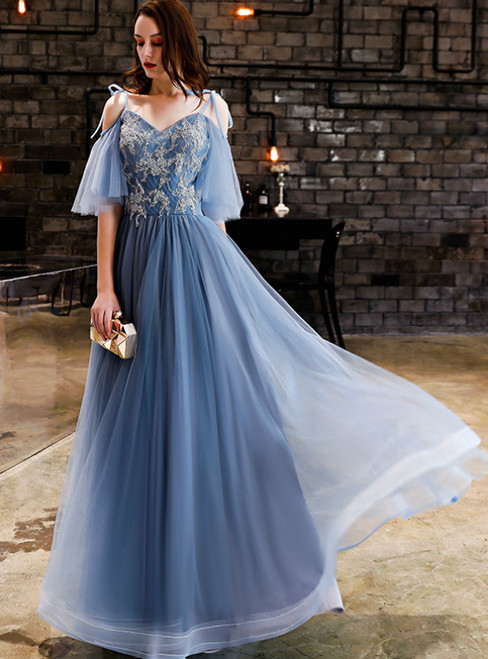 In Stock:Ship in 48 Hours Blue Tulle Spaghetti Straps Prom Dress