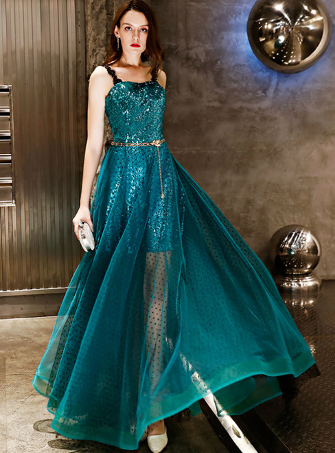 In Stock:Ship in 48 Hours  Green Spaghetti Straps Sequins Prom Dress