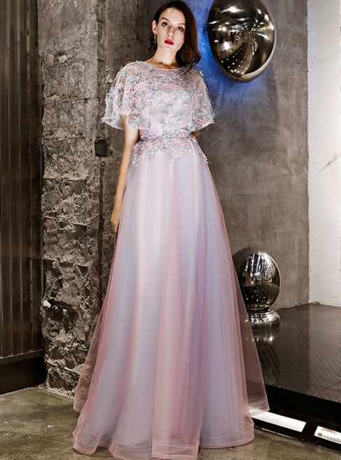 In Stock:Ship in 48 Hours Purple Taro Tulle Appliques Prom Dress
