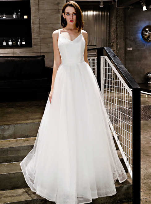 In Stock:Ship in 48 Hours White Tulle Spaghetti Straps Prom Dress