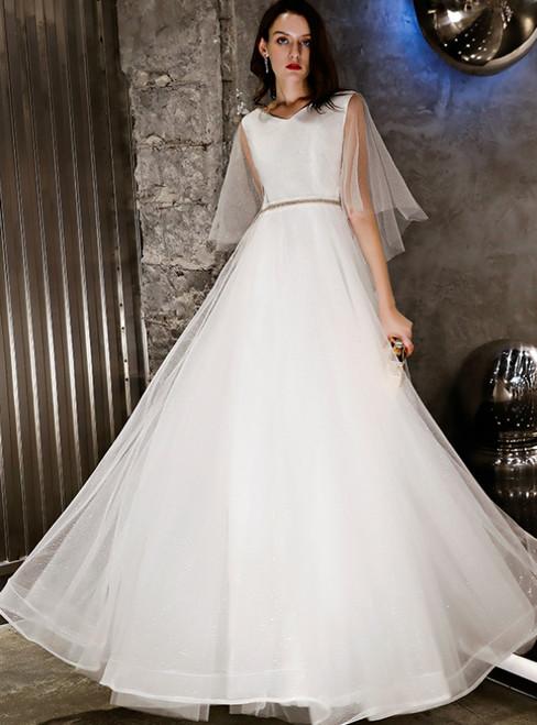 In Stock:Ship in 48 Hours White Tulle V-neck Long Prom Dress