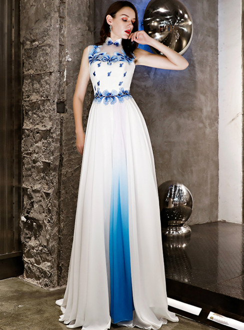 In Stock:Ship in 48 Hours Blue White Chiffon High Neck Prom Dress