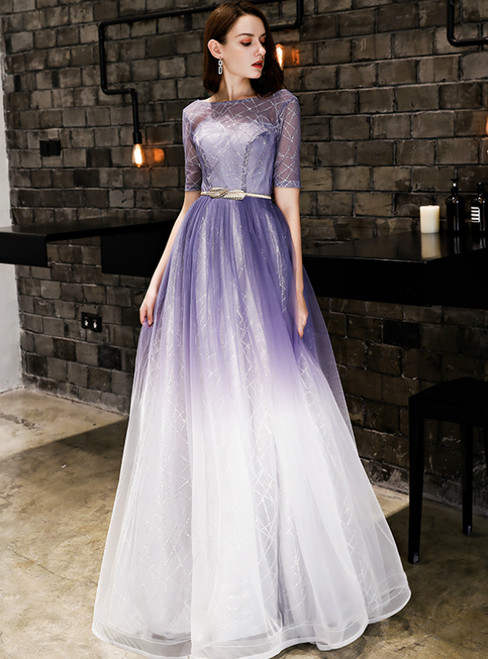 In Stock:Ship in 48 Hours Purple Tulle Sequins Short Sleeve Prom Dress