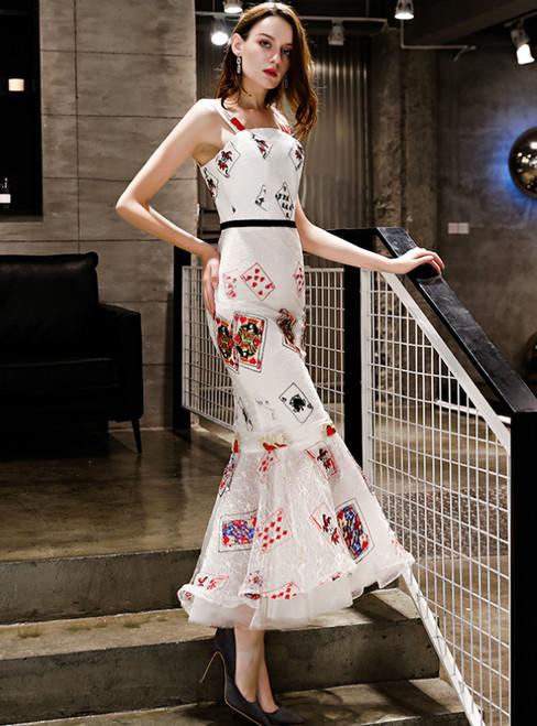 In Stock:Ship in 48 Hours White Mermaid Print Straps Prom Dress