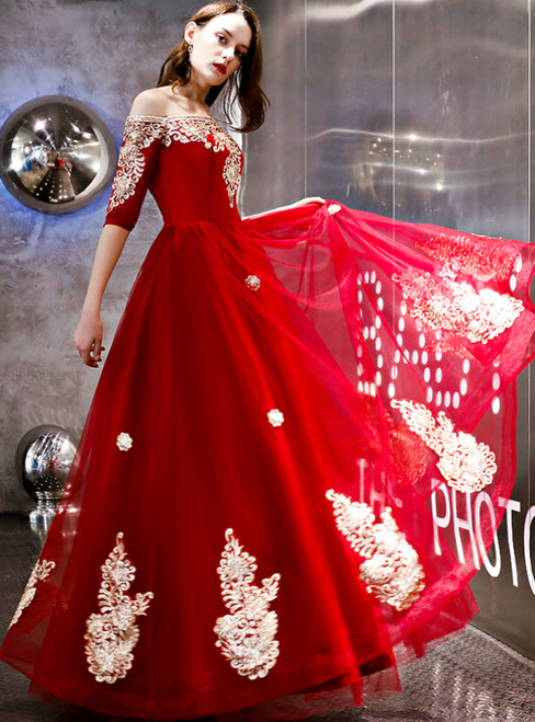 In Stock:Ship in 48 Hours Red Tulle Appliques Off The Shoulder Prom Dress