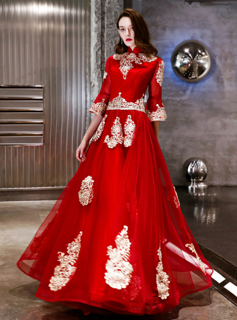 In Stock:Ship in 48 Hours Red Tulle Appliques Long Sleeve Prom Dress