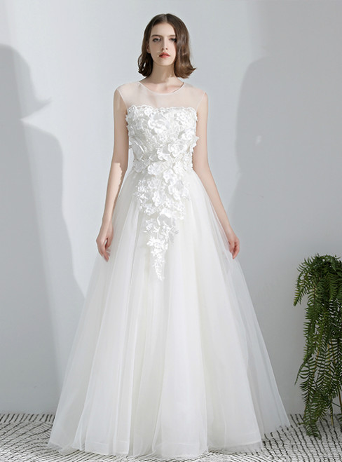 In Stock:Ship in 48 Hours White Tulle Appliques Weddign Dress