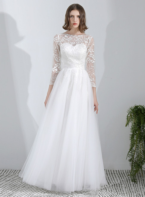 In Stock:Ship in 48 Hours White Lace Tulle 3/4 Sleeve Weddign Dress