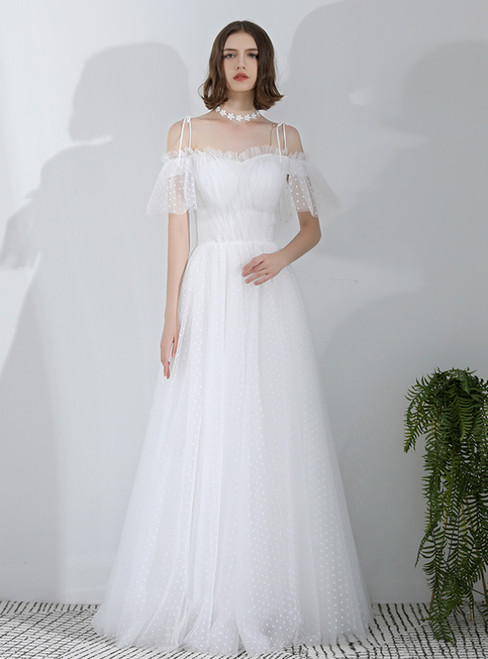 In Stock:Ship in 48 Hours White Spaghetti Straps Tulle Long Wedding Dress