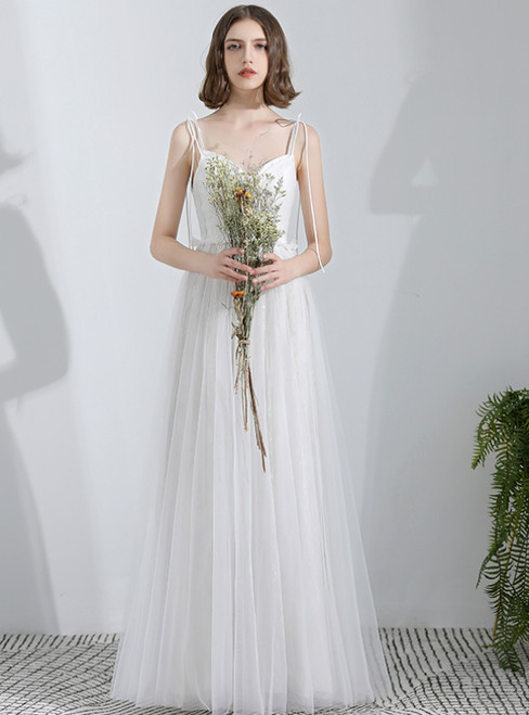 In Stock:Ship in 48 Hours White Tulle Spaghetti Straps Beach Wedding Dress