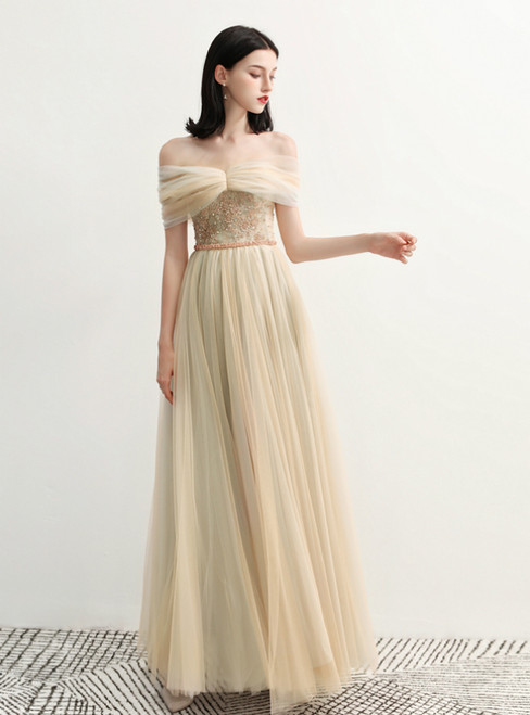 In Stock:Ship in 48 Hours Chmapgne Tulle Off The Shoulder Prom Dress