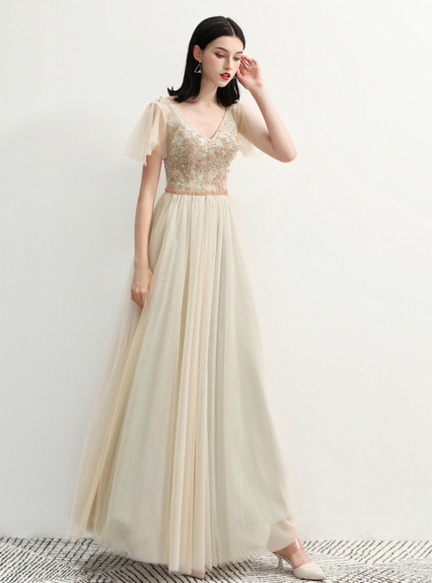 In Stock:Ship in 48 Hours Champagne V-neck Tulle Prom Dress