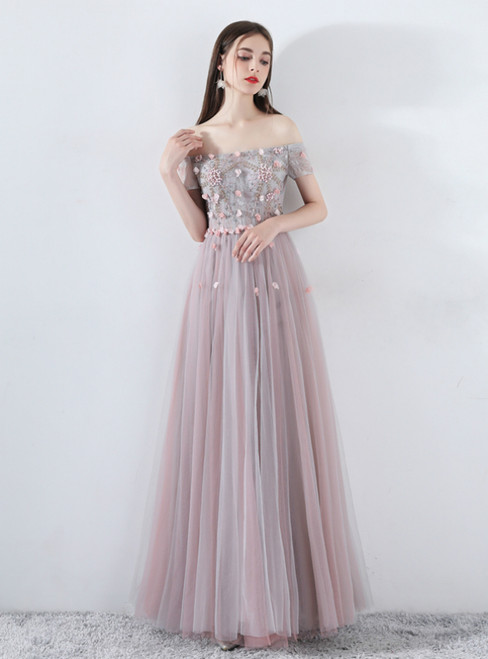 In Stock:Ship in 48 Hours Gray Pink Tulle Appliques Prom Dress