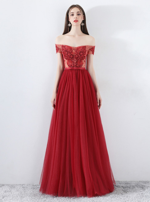 In Stock:Ship in 48 Hours Burgundy Tulle Off Shoulder Appliques Prom Dress