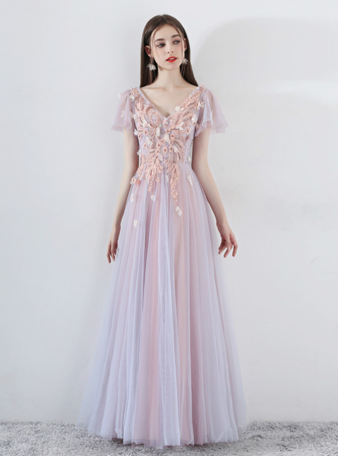 In Stock:Ship in 48 Hours Pink Tulle V-neck Appliques Prom Dress