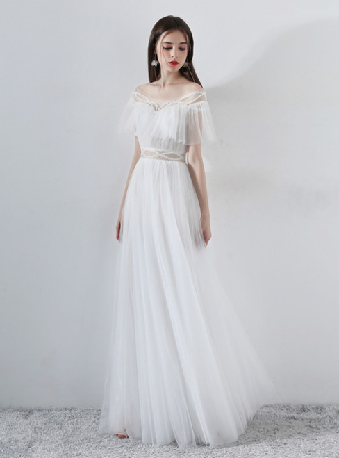 In Stock:Ship in 48 Hours White Tulle Off The Shoulder Long Wedding Dress