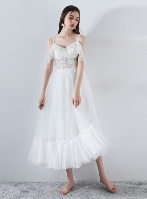 In Stock:Ship in 48 Hours White Spaghetti Straps Tulle Weddign Dress