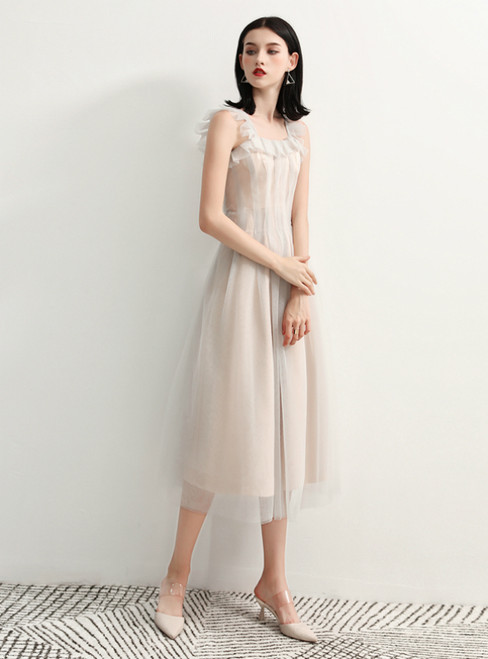 In Stock:Ship in 48 Hours Champagne Straps Tulle Short Prom Dress