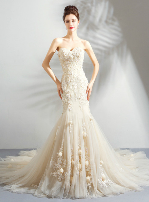 In Stock:Ship in 48 Hours Champagne Mermaid Appliques Wedding Dress