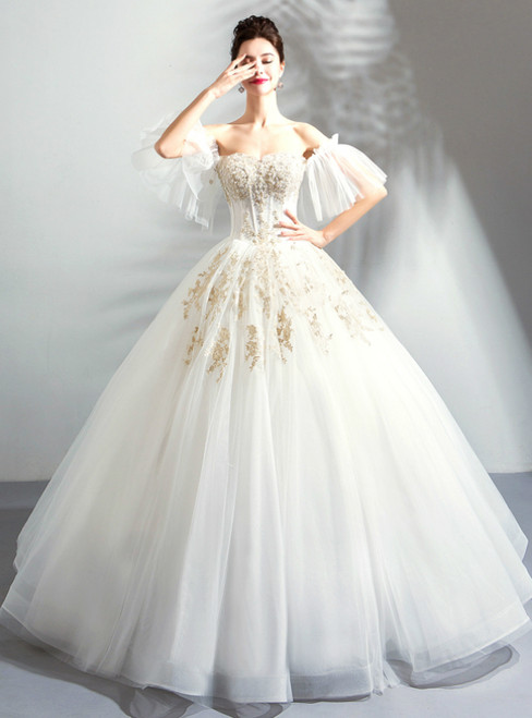 In Stock:Ship in 48 Hours White Tulle Off Ther Shoulder Weddign Dress