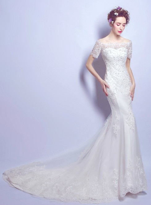 In Stock:Ship in 48 Hours Mermaid Lace Appliques Weddign Dress