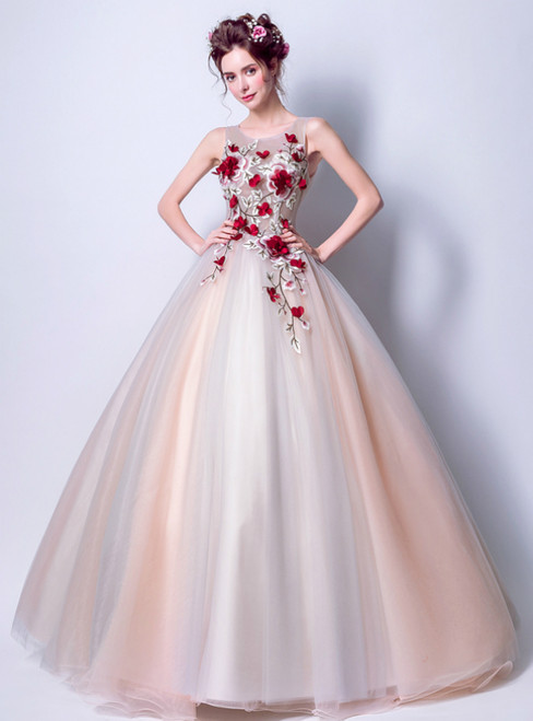 In Stock:Ship in 48 Hours Pink Gray Tulle Embroidery Weddign Dress