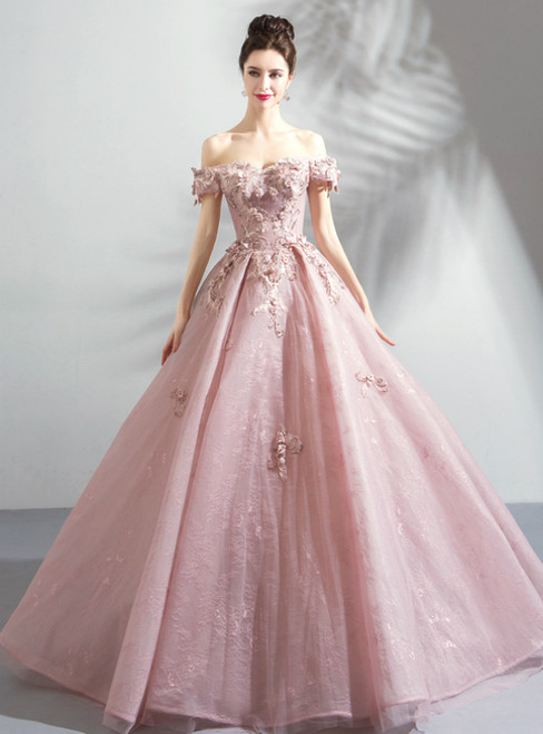 In Stock:Ship in 48 Hours Pink Organza Appliques Wedding Dress