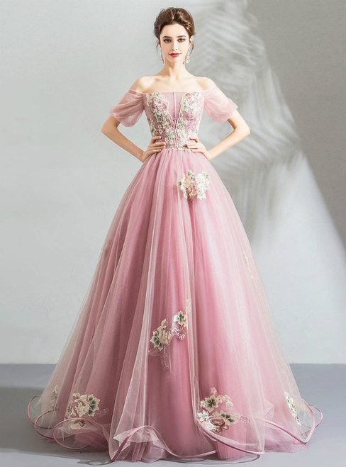 In Stock:Ship in 48 Hours Pink Off The Shoulder Embroidery Wedding Dress