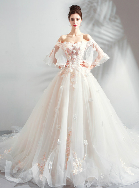 In Stock:Ship in 48 Hours White Off The Shoulder Wedding Dress With Train