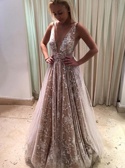 Charming A-Line Deep V-Neck Long Champagne Tulle Prom Dress With Lace