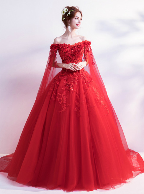 3a9966117d1 In Stock Ship in 48 Hours Red Tulle Appliques Wedding Dress